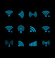 neon futuristic wireless and wifi icon vector image