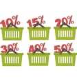 percent discount in shopping basket vector image