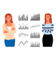 pretty woman consultants and statistics graphs vector image vector image
