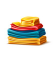realistic folded apparel or towel pile vector image vector image