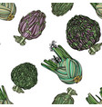 seamless pattern with fennel and artichoke vector image vector image