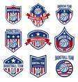 set american basketball team labels emblems vector image vector image