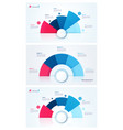set stylish pie chart circle infographic vector image vector image