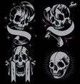 Skulls bone cross and Ribbon vector image vector image