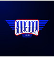 sport emblem typography super boy hero logotype vector image vector image