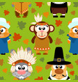 thanksgiving seamless background with funny vector image vector image