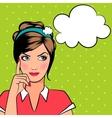 Thinking pop art woman vector image vector image