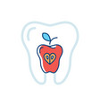 tooth health icon and a red apple symbol vector image vector image
