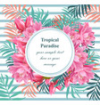 tropical floral round card summerl vector image vector image