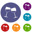 two wine glasses icons set vector image vector image
