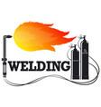 welder with fire symbol for welder vector image vector image