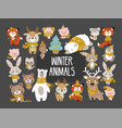 winter woodland animals vector image vector image