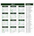 Green Calendar 2017 template vector image