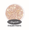 sticker with hand drawn pasta spaghetti vector image