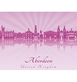 Aberdeen skyline in purple radiant orchid vector image vector image