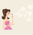 beautiful woman in pink dress blowing soap bubbles vector image