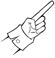Black and white hand points vector image vector image