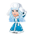 blue-eyed beauty snow maiden in a fur cap with vector image