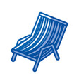 Blue shading silhouette of beach chair vector image