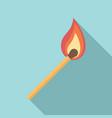 burning match stick icon flat style vector image vector image