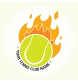 Burning tennis ball logo vector image vector image