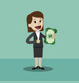 businesswoman holds money in his hand and has vector image vector image