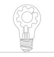 continuous line lamp bulb gear idea innovation vector image