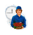 delivery boy flower vector image