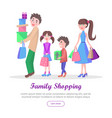 family shopping cartoon flat concept vector image vector image