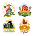 farm and farmer labels organic food bio products vector image