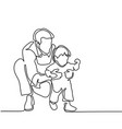 father and son baby beginning to walk vector image vector image