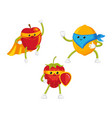 flat fruit characters in mask set vector image vector image