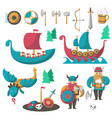 flat vikings flying dragon and longships vector image