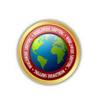 golden worldwide shipping badge isolated on white vector image vector image