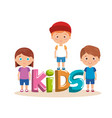group of little kids with word characters vector image