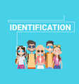 group of people biometric identification face vector image vector image