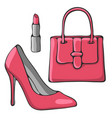 hand drawn fashion objects vector image