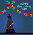 happy groundhog day card vector image vector image