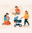happy mom and baby set mother breastfeeding child vector image