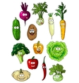 Happy smiling fresh garden vegetables vector image vector image