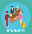 hotel receptionist checking in guest female vector image