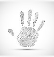 human hand palm with electronic circuit pattern vector image