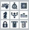 isolated money icons set vector image