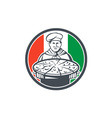 Italian Chef Cook Serving Pizza Circle Retro vector image vector image
