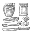 Jar spoon knife and slice of bread with jam vector image vector image