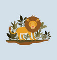lion in the jungle scene vector image vector image