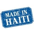 made in haiti blue square grunge stamp vector image vector image