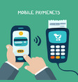 mobile payments with terminal vector image