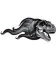monochromatic dinosaurus tyrannosaurus rex head vector image