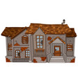 old brick house with brown roof vector image vector image
